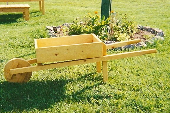 Wooden wheelbarrow planter lawn and garden furniture for Lawn and garden furniture