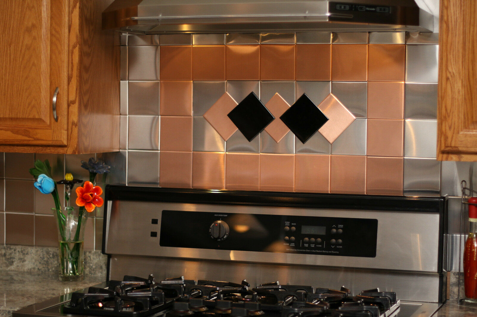 24 decorative self adhesive kitchen metal wall tiles 3 sq ft