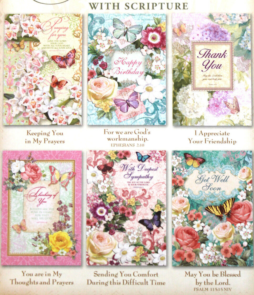 Pooch Sweetheart 6 Assorted Floral Butterfly Scripture Greeting