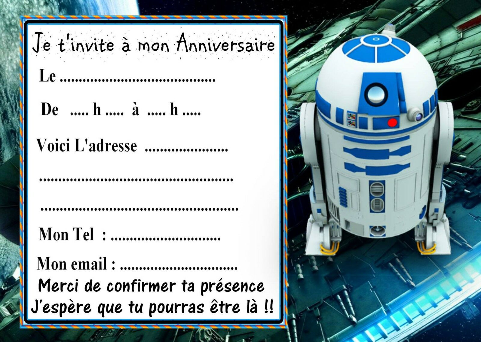 5 cartes invitation anniversaire star wars 06 d 39 autres en vente eur 2 99 picclick fr. Black Bedroom Furniture Sets. Home Design Ideas