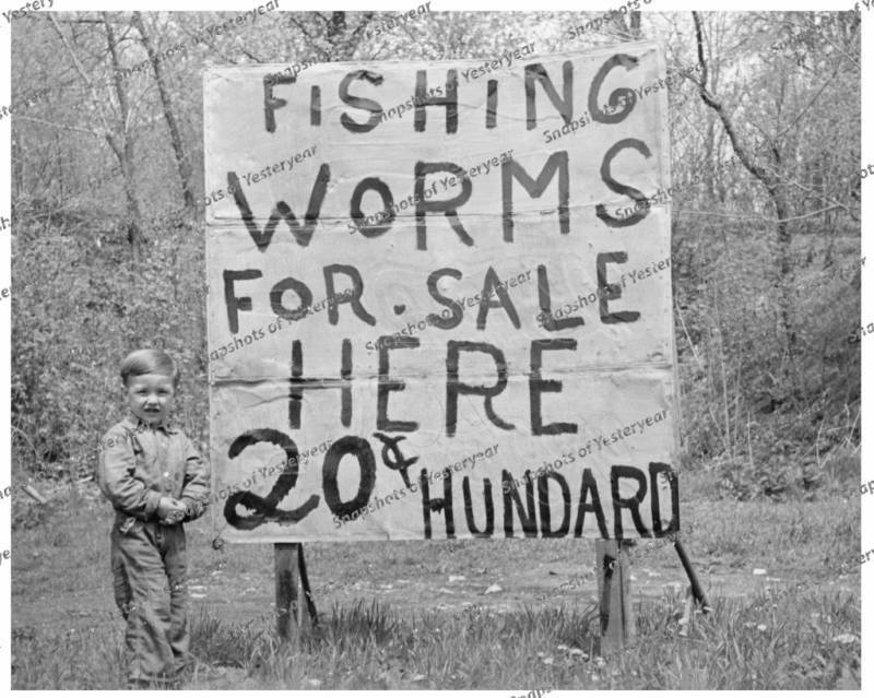 vintage photo fishing worms for sale 8x10 in
