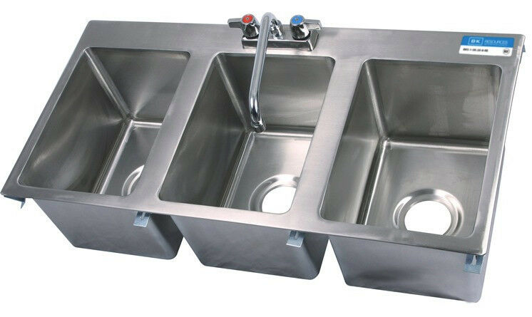 Faucet For 3 Compartment Sink : ... Steel Commercial (3) Three Compartment Drop In Sink with Faucet