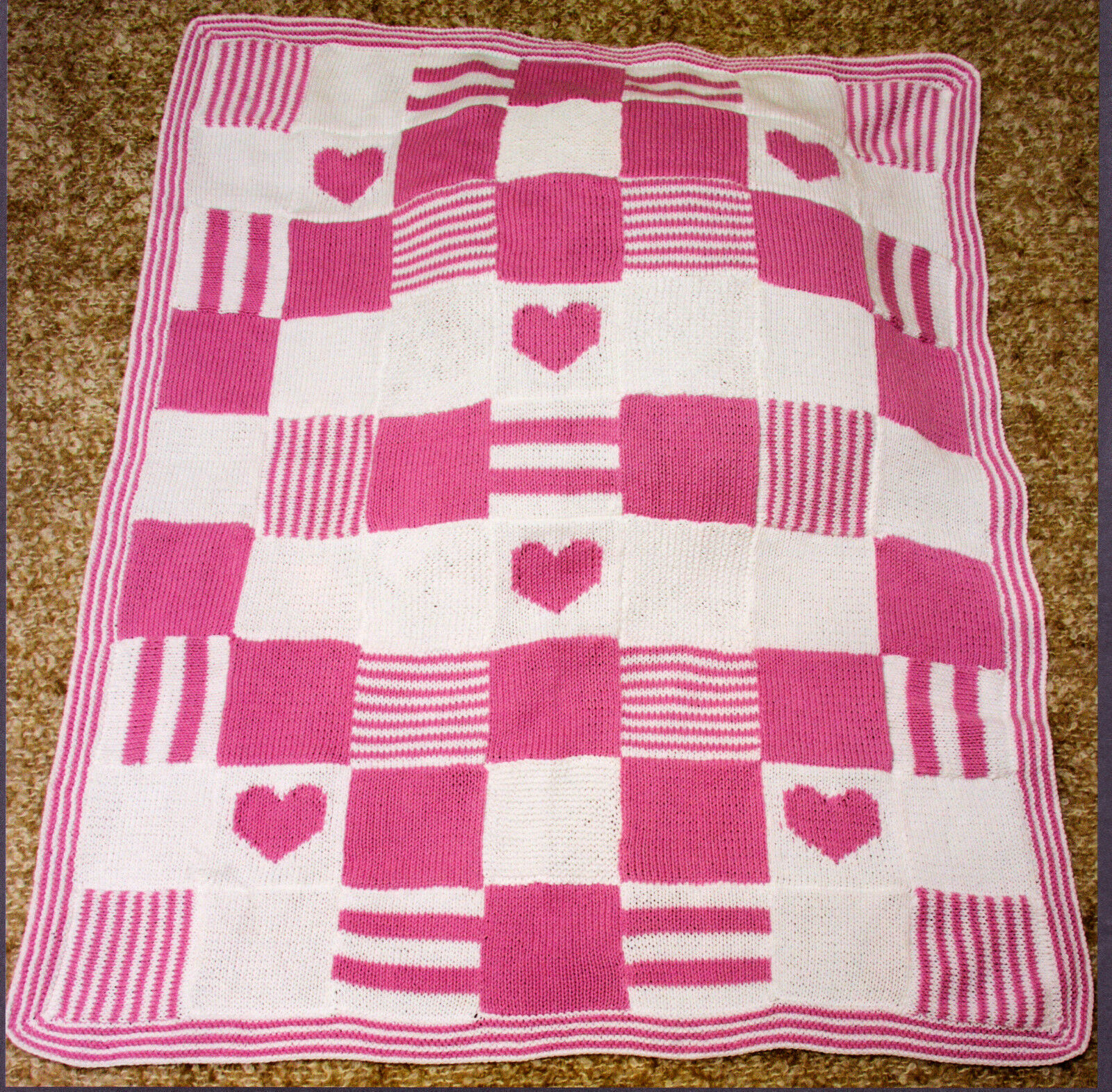 Knitting Patterns Blankets Patchwork : Patchwork Heart Baby Blanket Knit in Squares 32