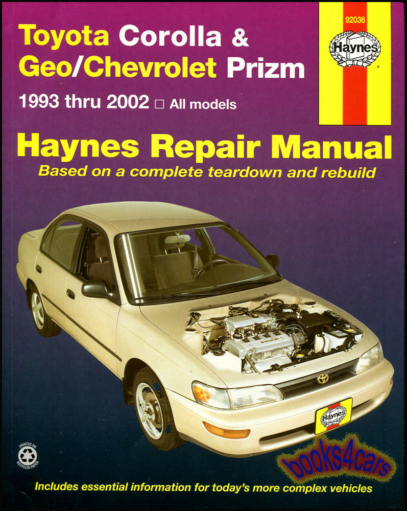 Shop Manual Service Repair Book Haynes Toyota Corolla Geo Prizm Chevy 1 of  1FREE Shipping ...