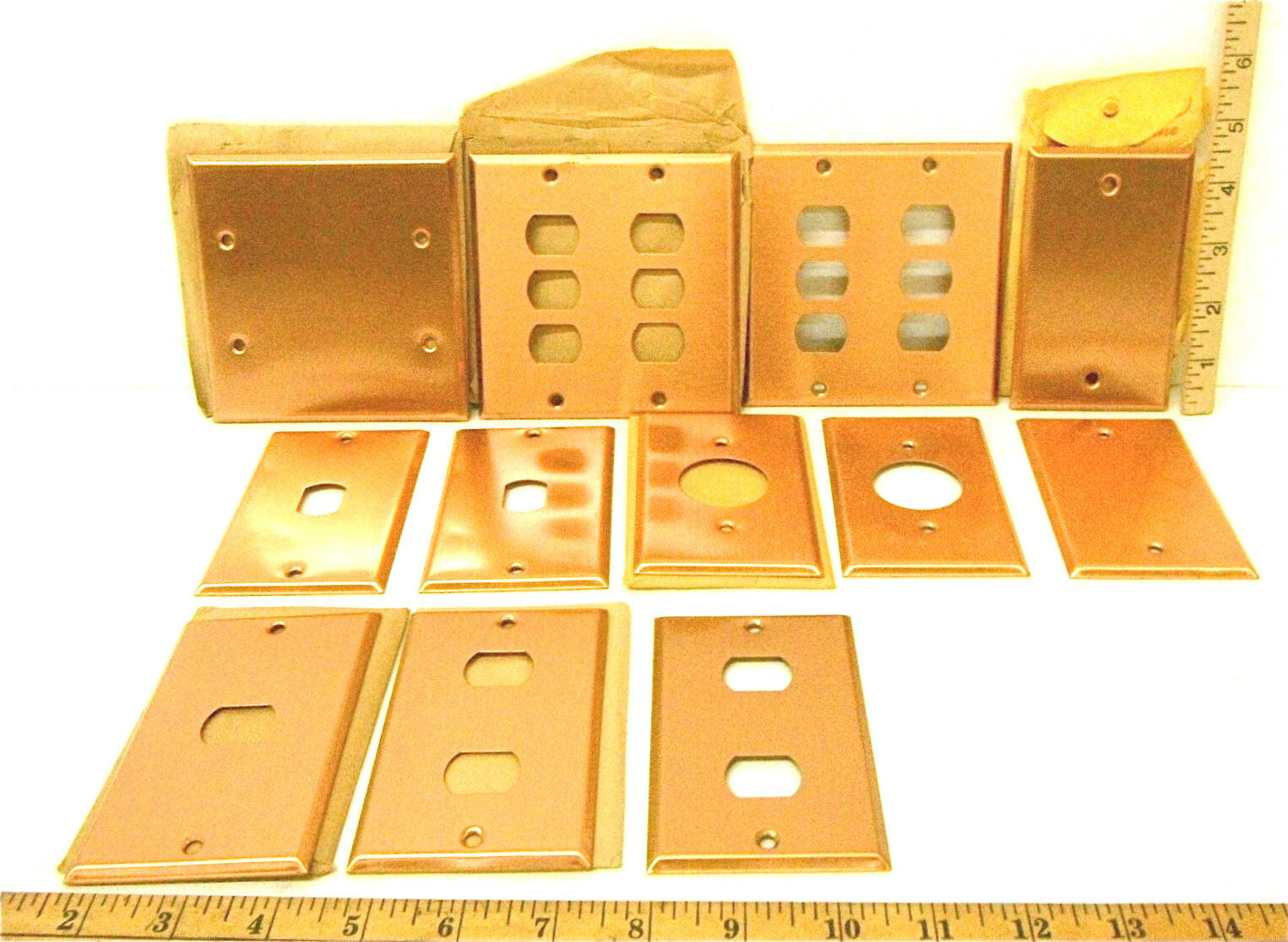 12 Heavy Duty Antique Smooth Copper Plate Metal Switch Covers Toggle Blank Wall
