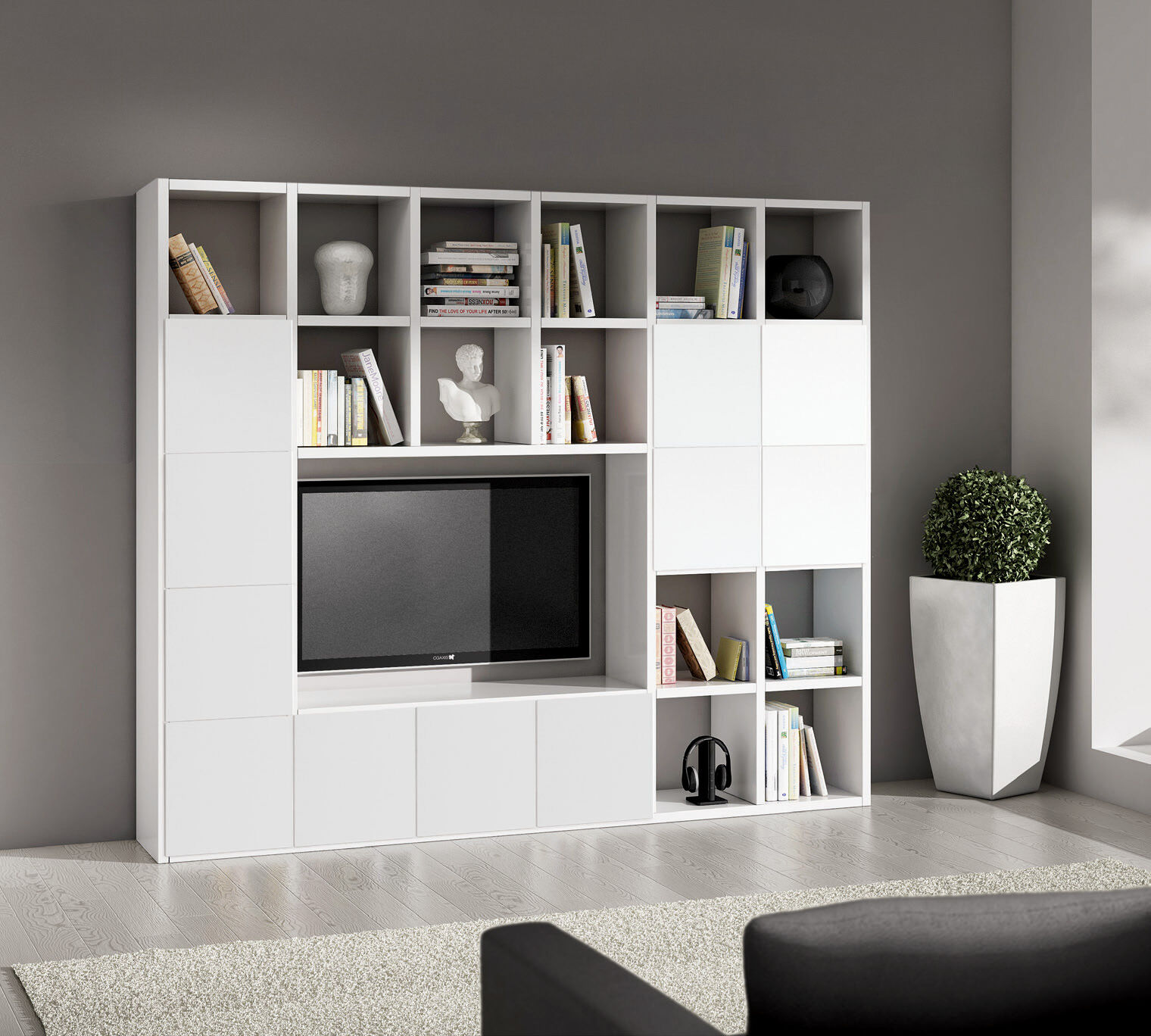 Mobile parete attrezzata libreria porta tv plasma pensile for Mensole porta tv ikea