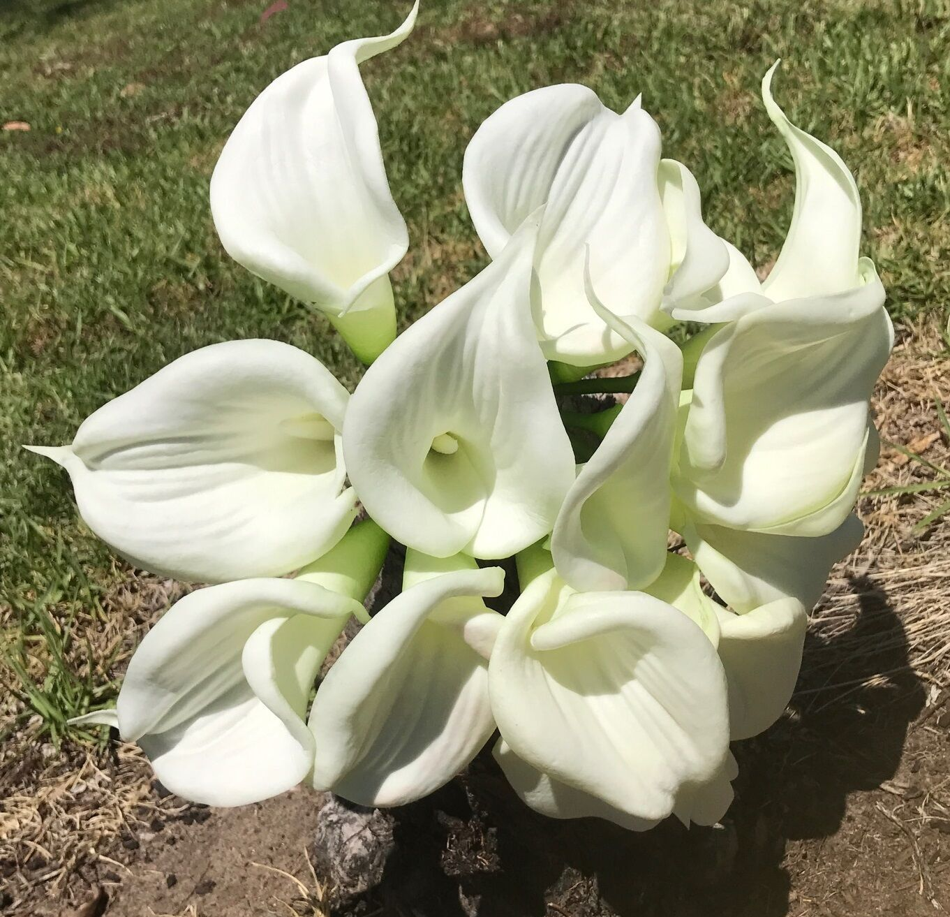 WEDDING BOUQUET SILK FLOWER LATEX REAL TOUCH CALLA LILY WHITE ARTIFICIAL 18 HEAD