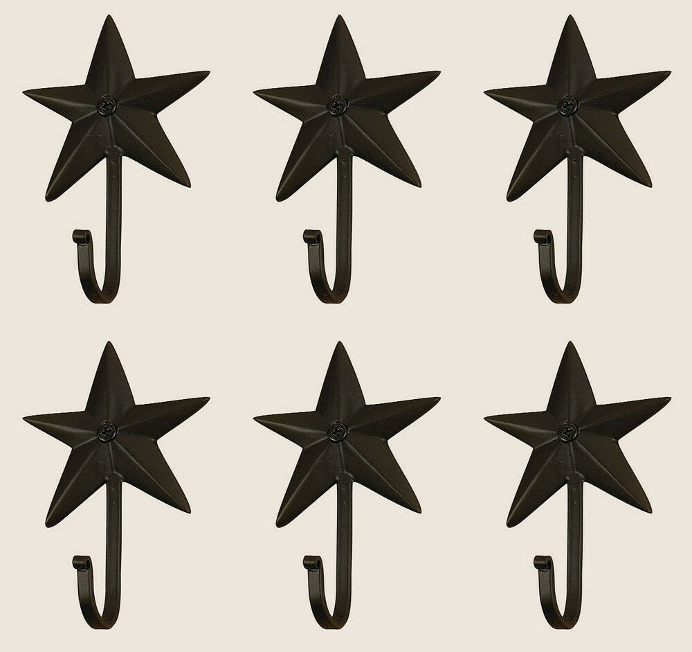 Vintage Hand Forged Iron Classic Early American 3D Barn Star Hook Charcoal Set 6