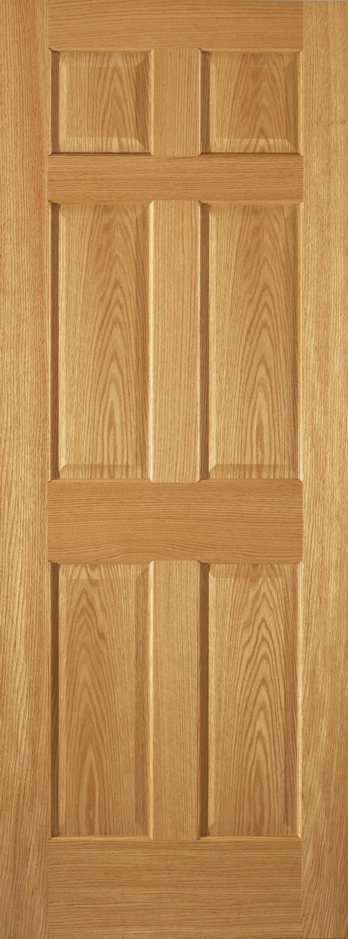 6 Panel Raised Red Oak Traditional Stain Grade Solid Core Interior Doors    Slabs