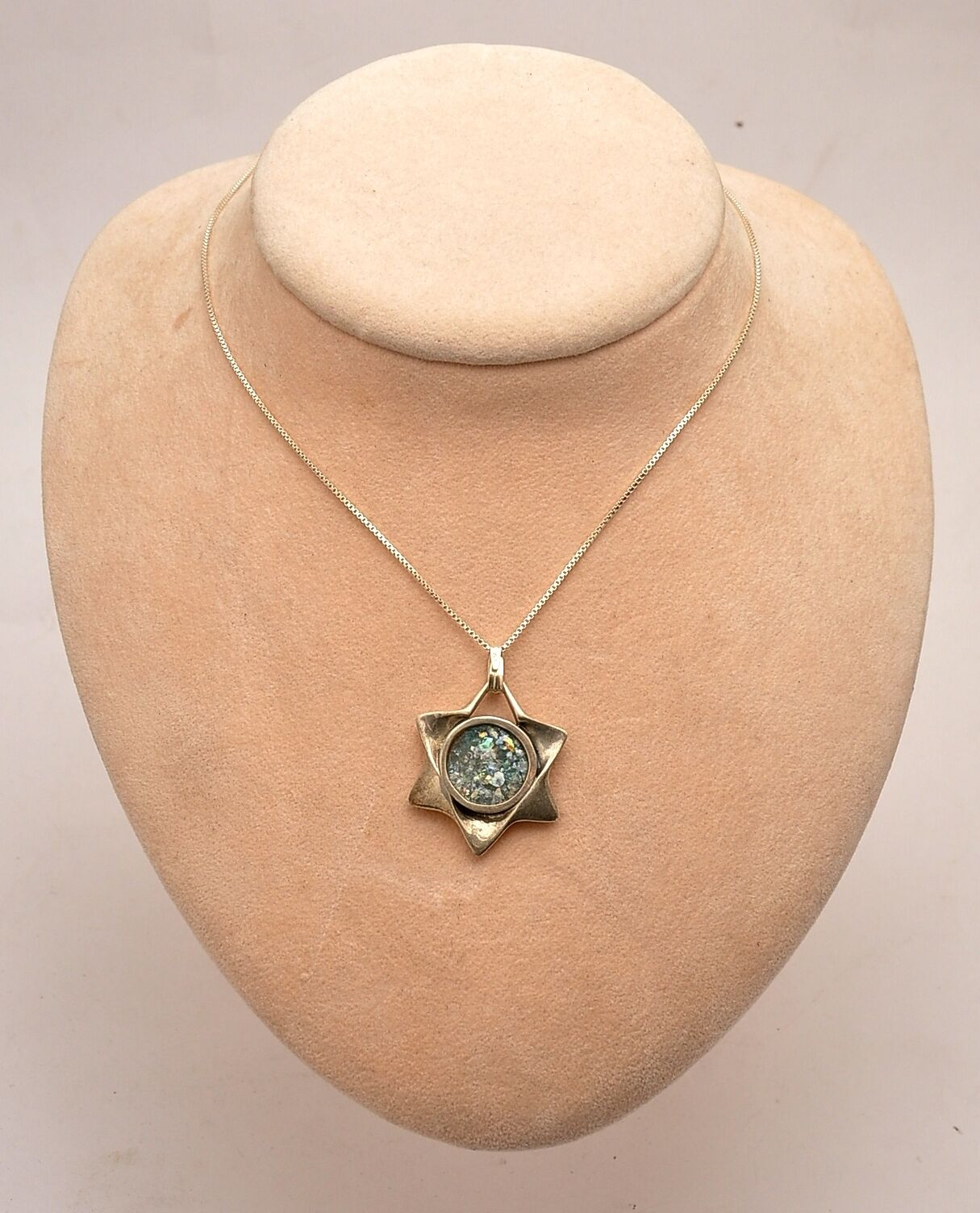 Roman Glass Magen David In Necklace Sterling Silver 925