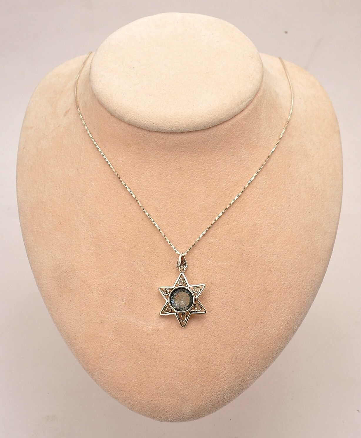 Roman Glass Small Magen David In Necklace Sterling Silver 925.