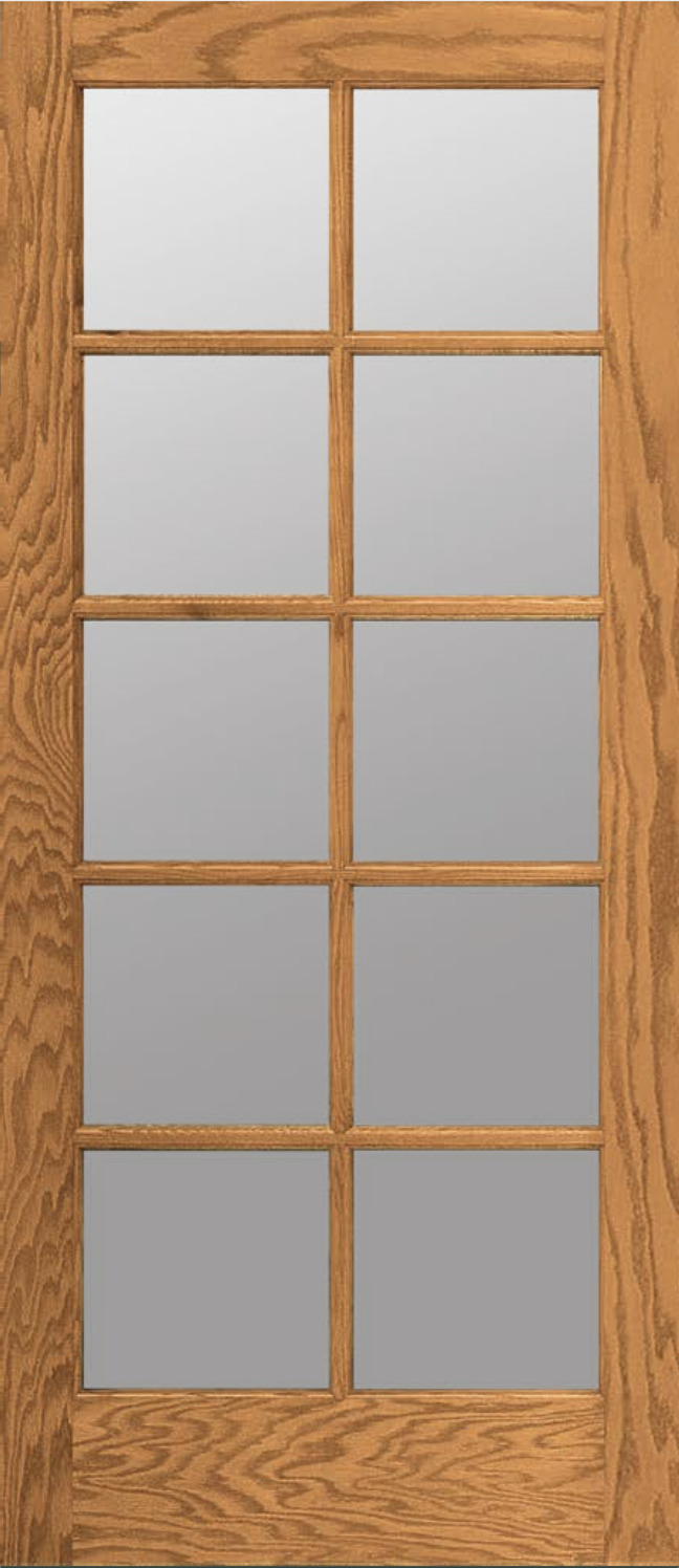 10 Lite Red Oak Clear Tempred Glass Stain Grade Solid Interior Wood