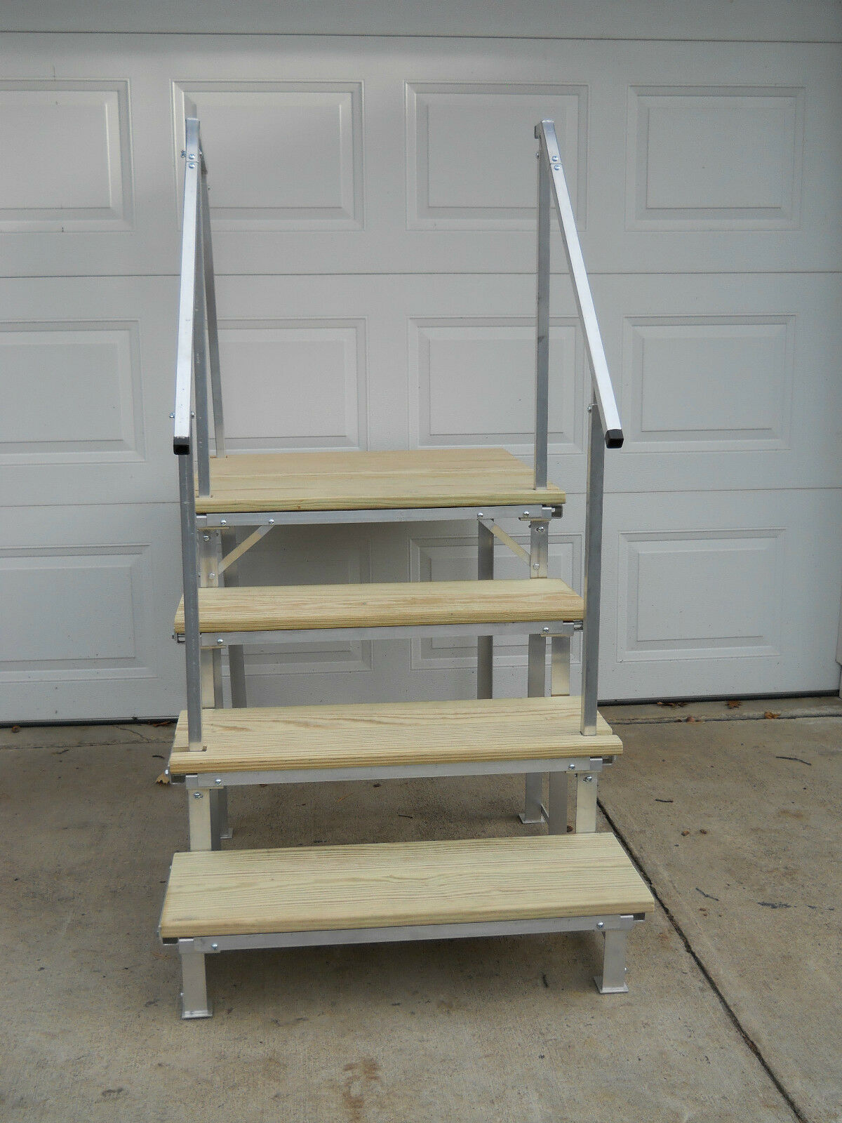 Stairs For Rvs : Portable rv deck with steps and railings picclick