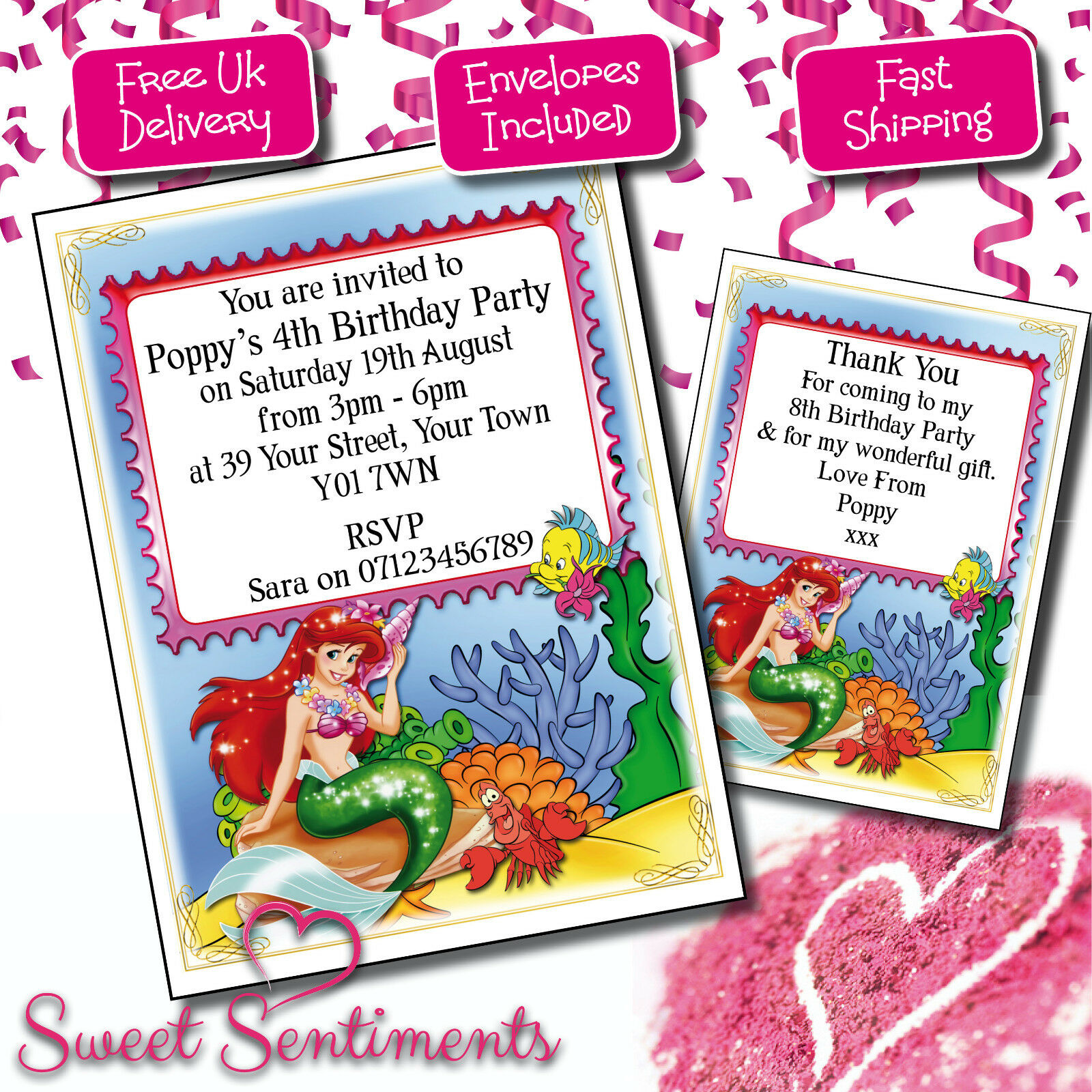 Personalised little mermaid ariel birthday party invitations thank personalised little mermaid ariel birthday party invitations thank you cards 1 of 1free shipping filmwisefo