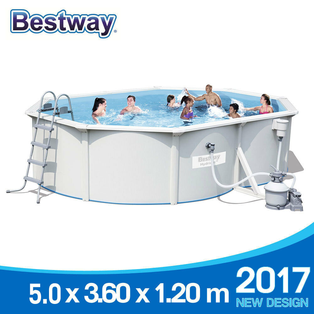 bestway hydrium titan steel wall above ground swimming pool w sand filter pump 1. Black Bedroom Furniture Sets. Home Design Ideas