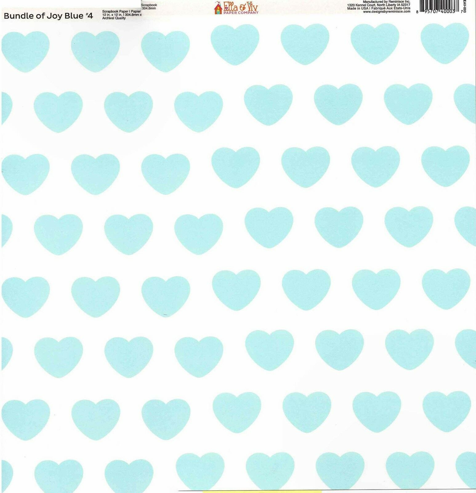 Reminisce Baby Blue Hearts Scrapbooking Paper 12x12 Baby Boy