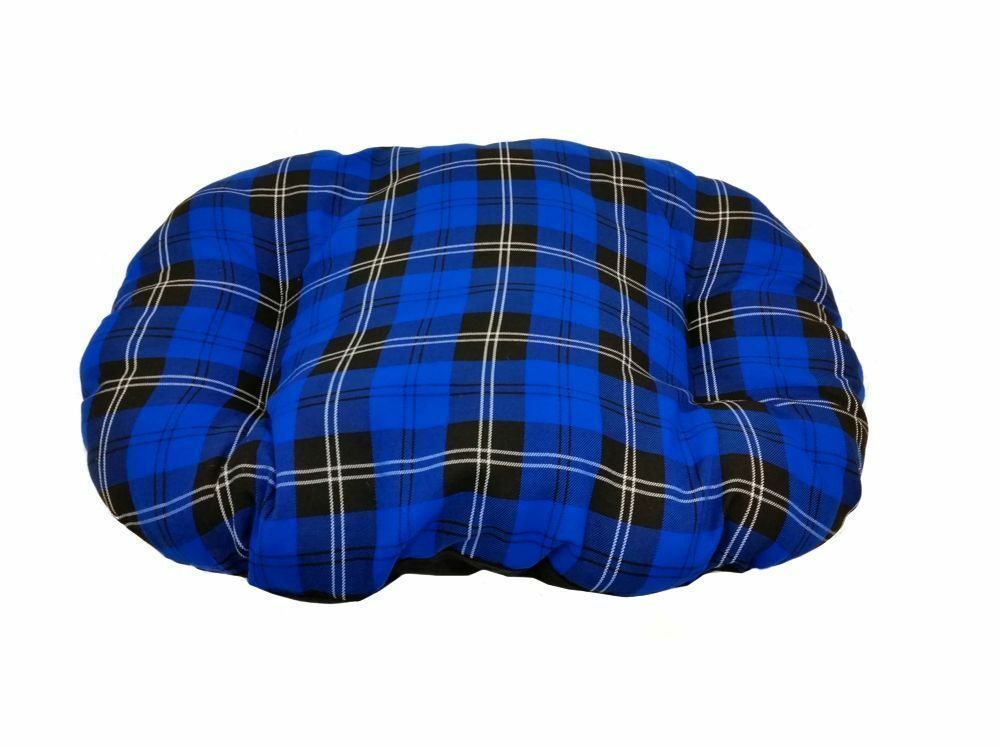SMALL BLUE TARTAN Cotton Dog Cat Bed Cushion To Put In Bottom Of Basket UK Made