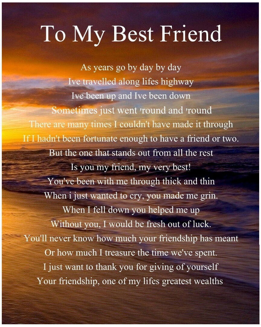 PERSONALISED TO MY Best Friend Poem Birthday Christmas Gift Present ...