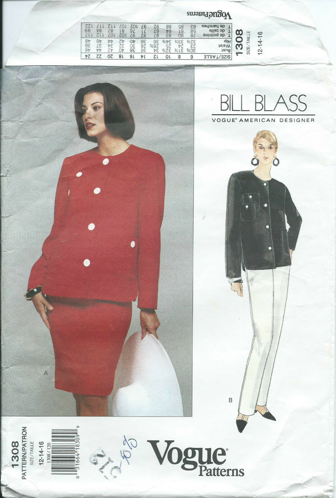 Vogue 1308 sewing pattern chic jacket skirt pants sew bill blass vogue 1308 sewing pattern chic jacket skirt pants sew bill blass design 12 14 jeuxipadfo Gallery