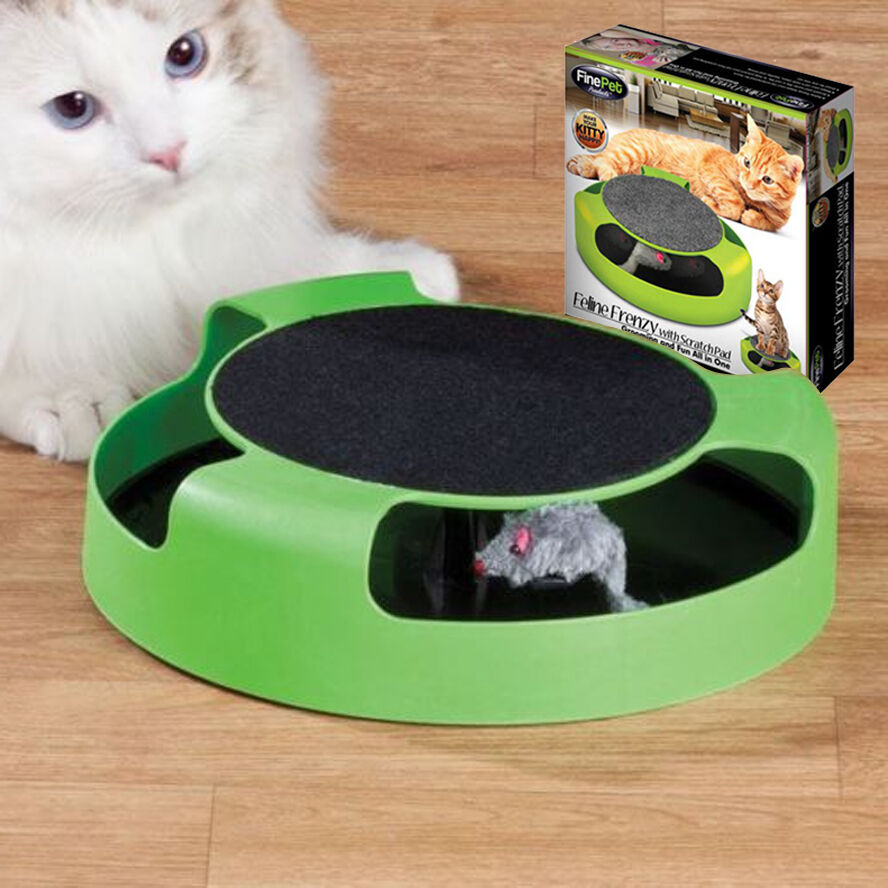 Cat Kitten Catch The Mouse Interactive Pluch Scratching Claw Mat Moving Play Toy