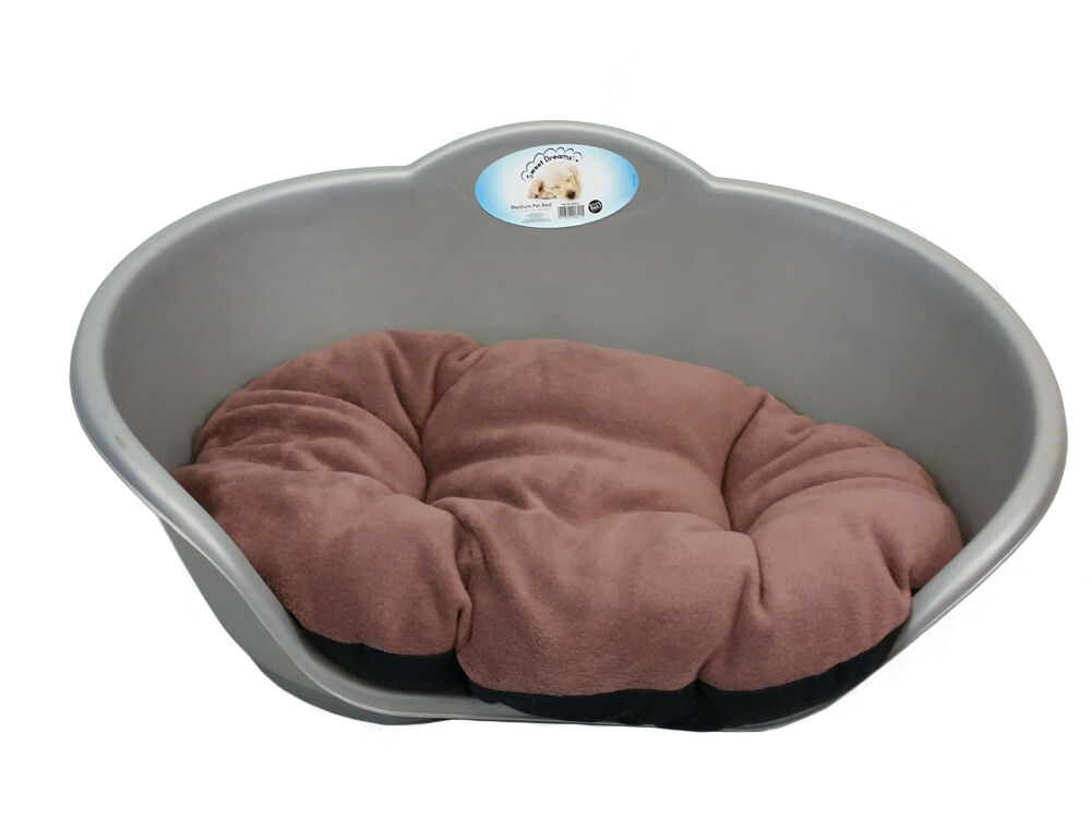 Large Plastic Silver Grey Pet Bed With Brown Cushion Dog Cat Sleep Basket