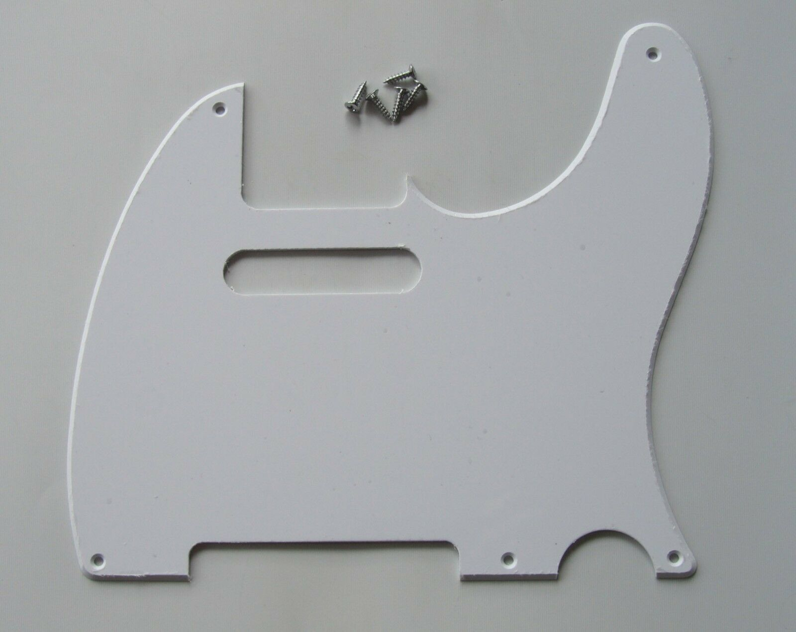 White 1 Ply Vintage 5 Hole Tele Style Guitar Pickguard For