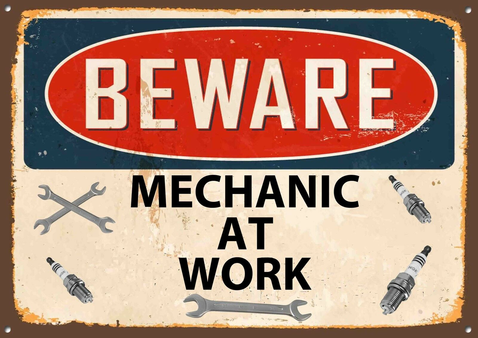 """""""beware Mechanic At Work"""" Metal Sign,lubricants,retro. Hole In Wall Murals. Smiling Signs. Teacher Welcome Signs Of Stroke. Cardiovascular Signs. Difficulty Signs Of Stroke. Waterfall Signs Of Stroke. Bannershop. Mlk Murals"""
