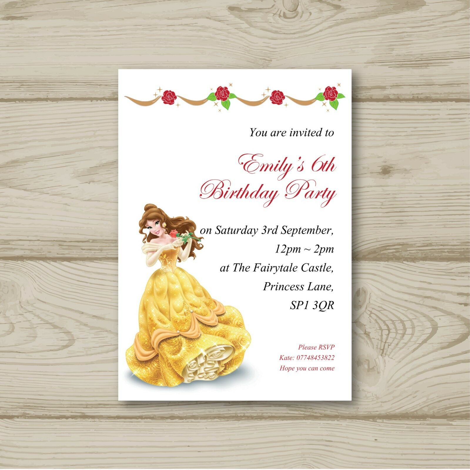 DISNEY PRINCESS BELLE Birthday Party Invitations Beauty and the ...