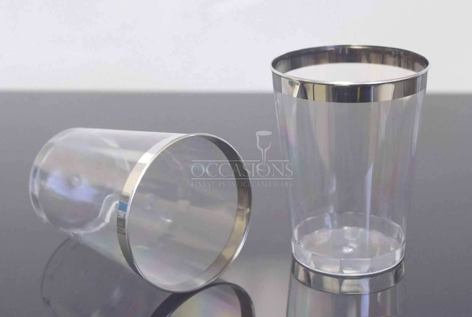 Wedding Reception 10oz Disposable Plastic Tumblers Cups Clear With Silver Rim 1 Of 1free Shipping