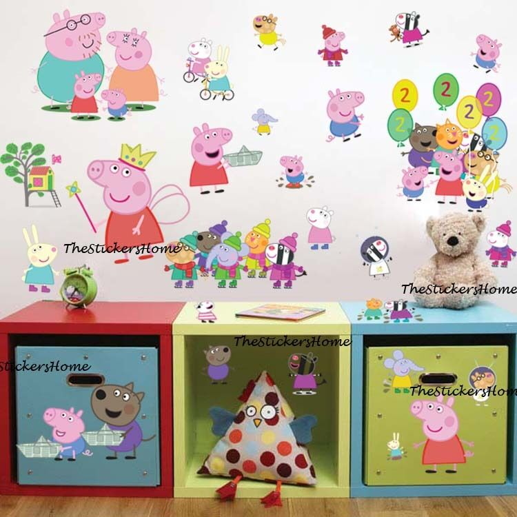 27x peppa pig george family friends wall sticker baby for George pig bedroom ideas