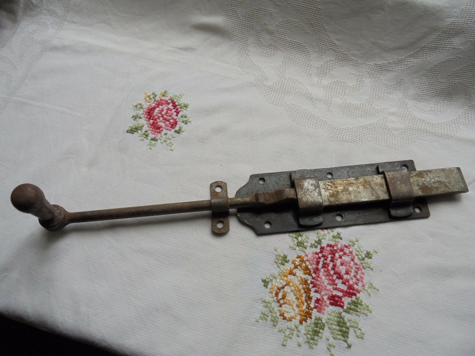 French 19th century iron  door latch lock slide bolt country rustic rare