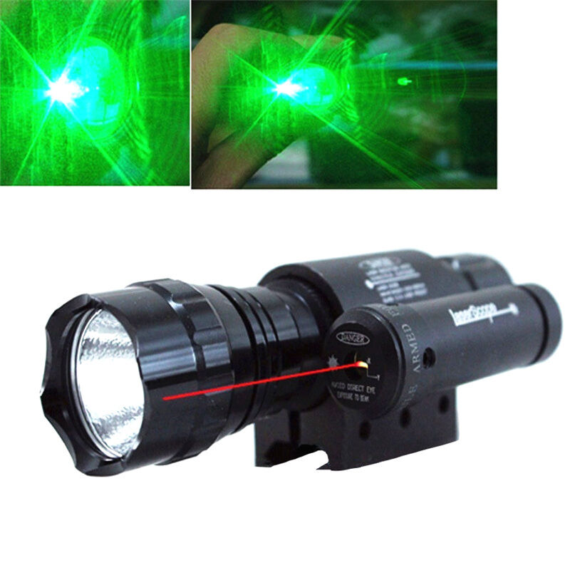 Tactical CREE GREEN LED Flashlight Torch + Red Laser Sight Scope + Mount Ring