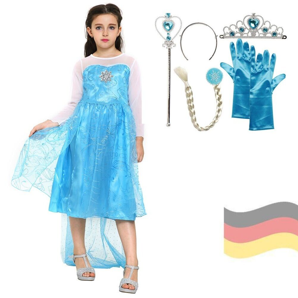 elsa kleid f r m dchen kost m eisk nigin frozen t ll blau prinzessin karneval eur 19 99. Black Bedroom Furniture Sets. Home Design Ideas