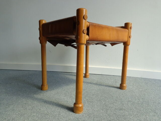 Vintage Danish Modern Ottoman Foot Stool Oak Leather