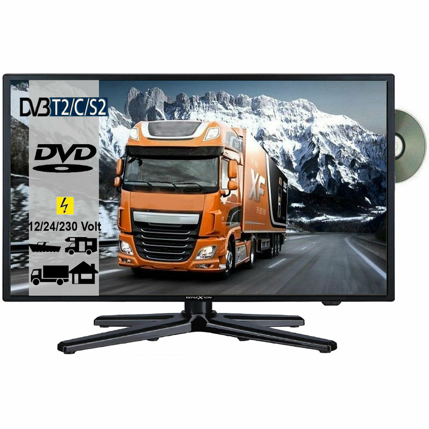 reflexion lddw22 led tv fernseher 22 zoll sat dvb s2 c t2. Black Bedroom Furniture Sets. Home Design Ideas
