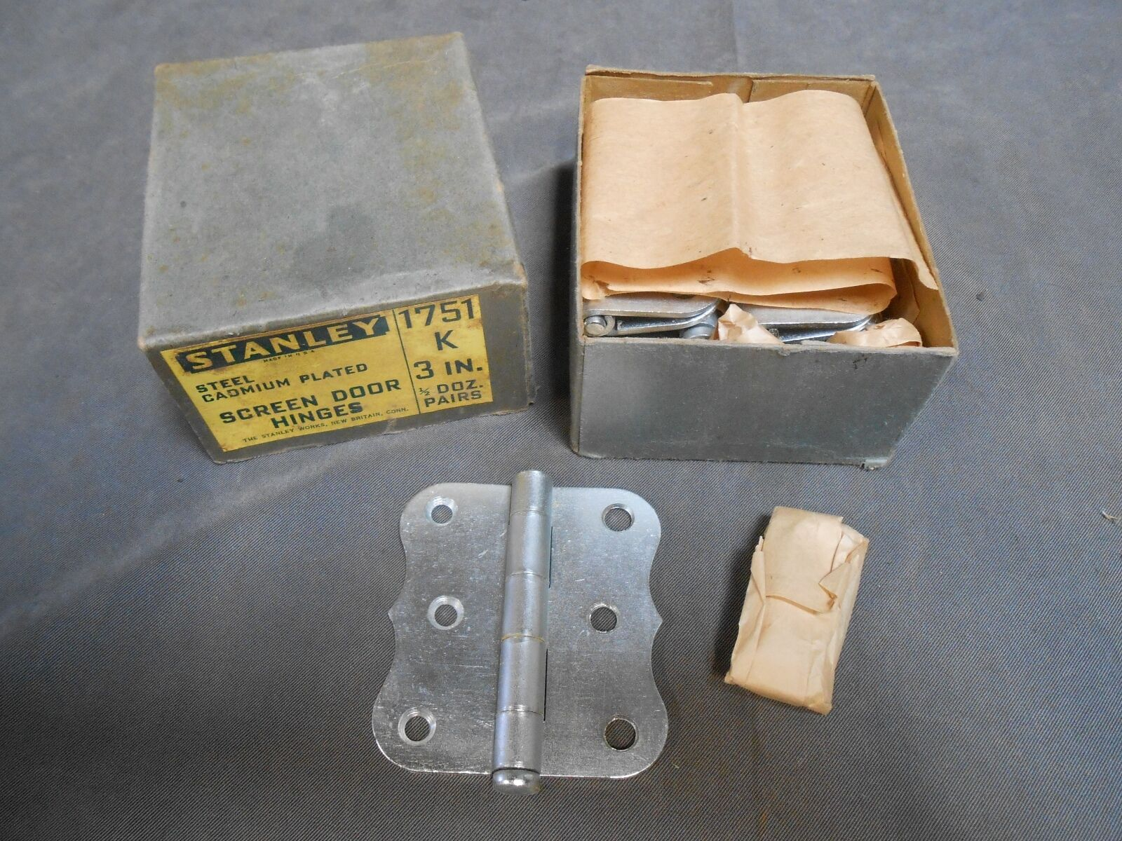 "Lpt ""9"" NOS Stanley 1751 3"" Steel Cadmium Plated Screen Door Hinge Hinges"