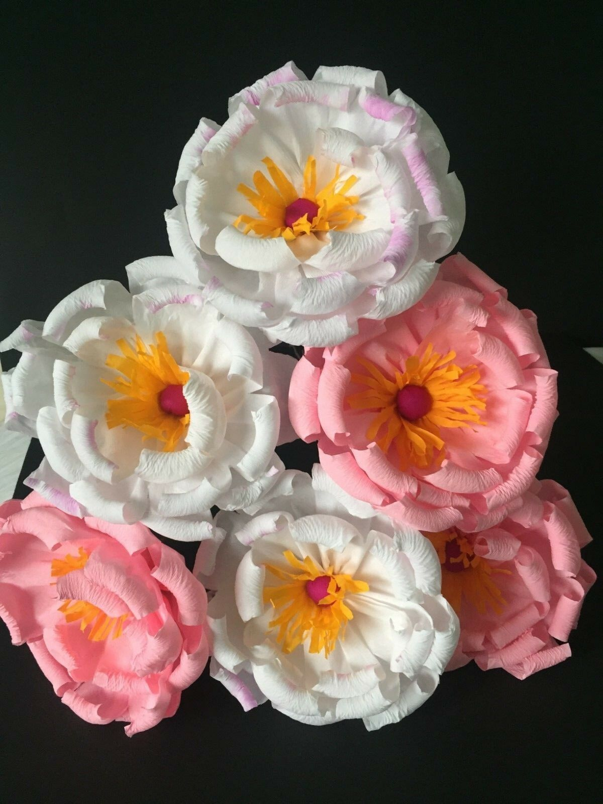 Mexican Paper Flowers Set Of 6 Plum Blossom We Make Special Orders