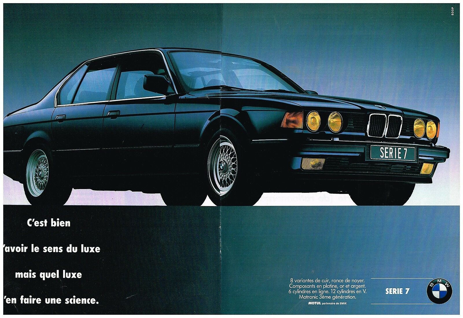 publicit advertising 1990 2 pages bmw serie 7 eur 5 00 picclick fr. Black Bedroom Furniture Sets. Home Design Ideas