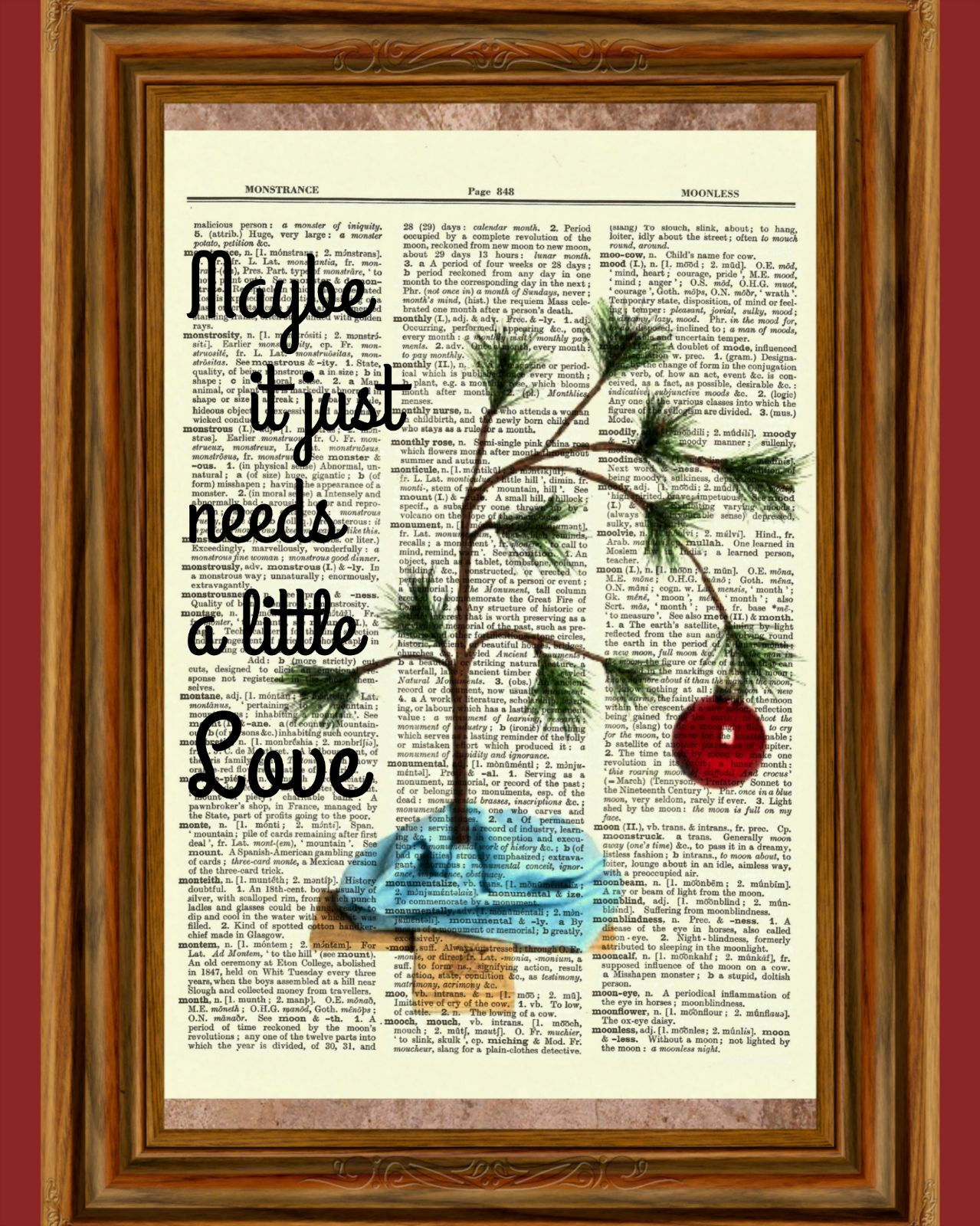 CHARLIE BROWN CHRISTMAS Tree Dictionary Art Print Picture Poster