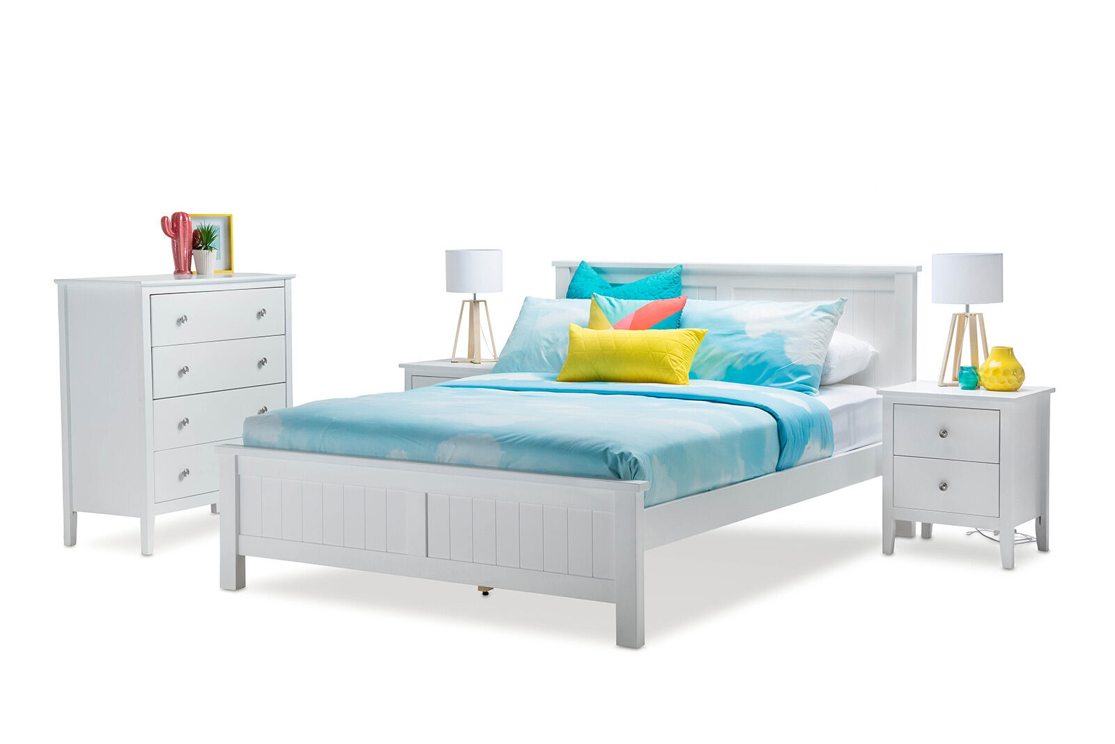 contemporary queen size panel bed frame coastal hampton white timber wood picclick au. Black Bedroom Furniture Sets. Home Design Ideas