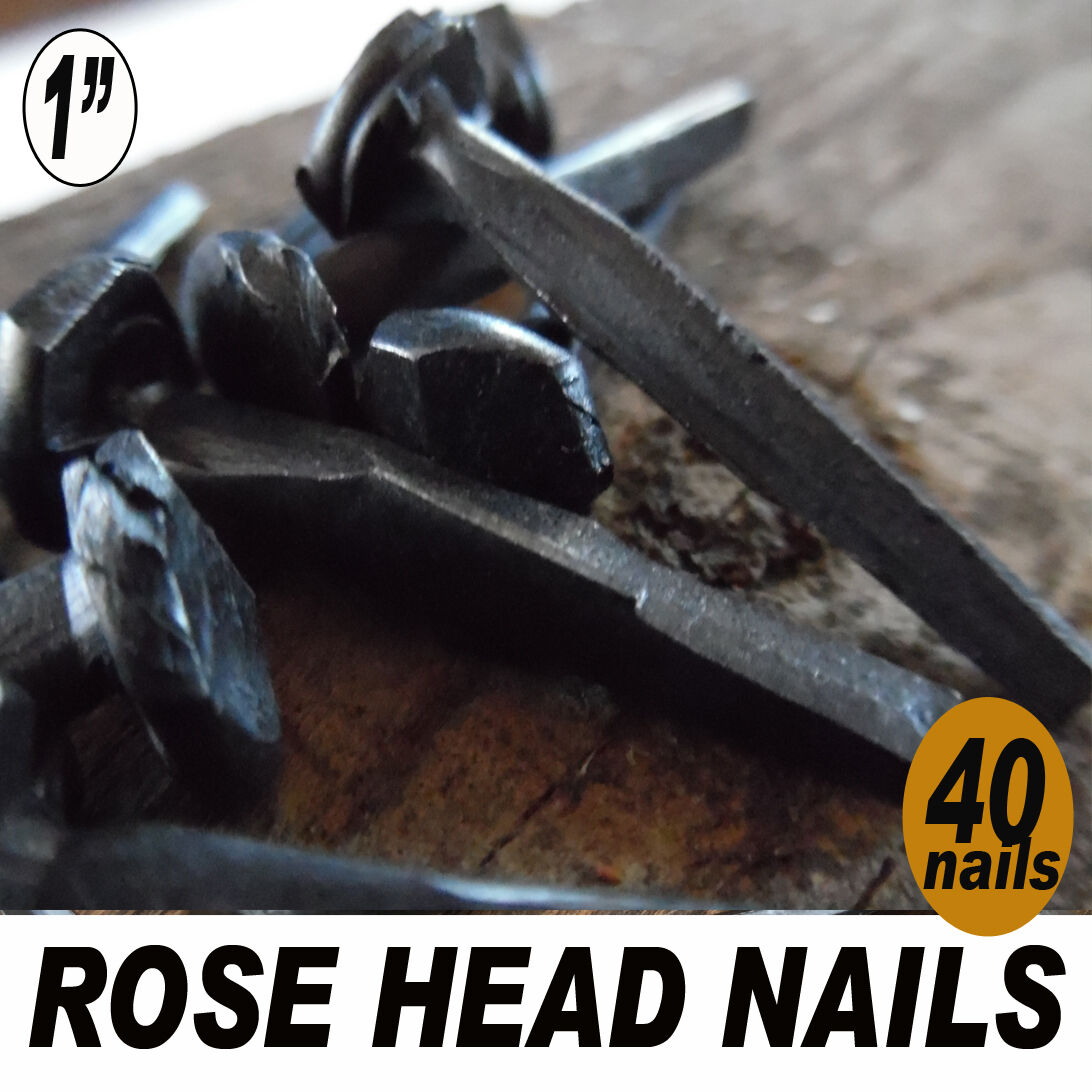 "(40)  1"" (2d) Rose Head nails - Wrought square head forged iron-antique vintage"