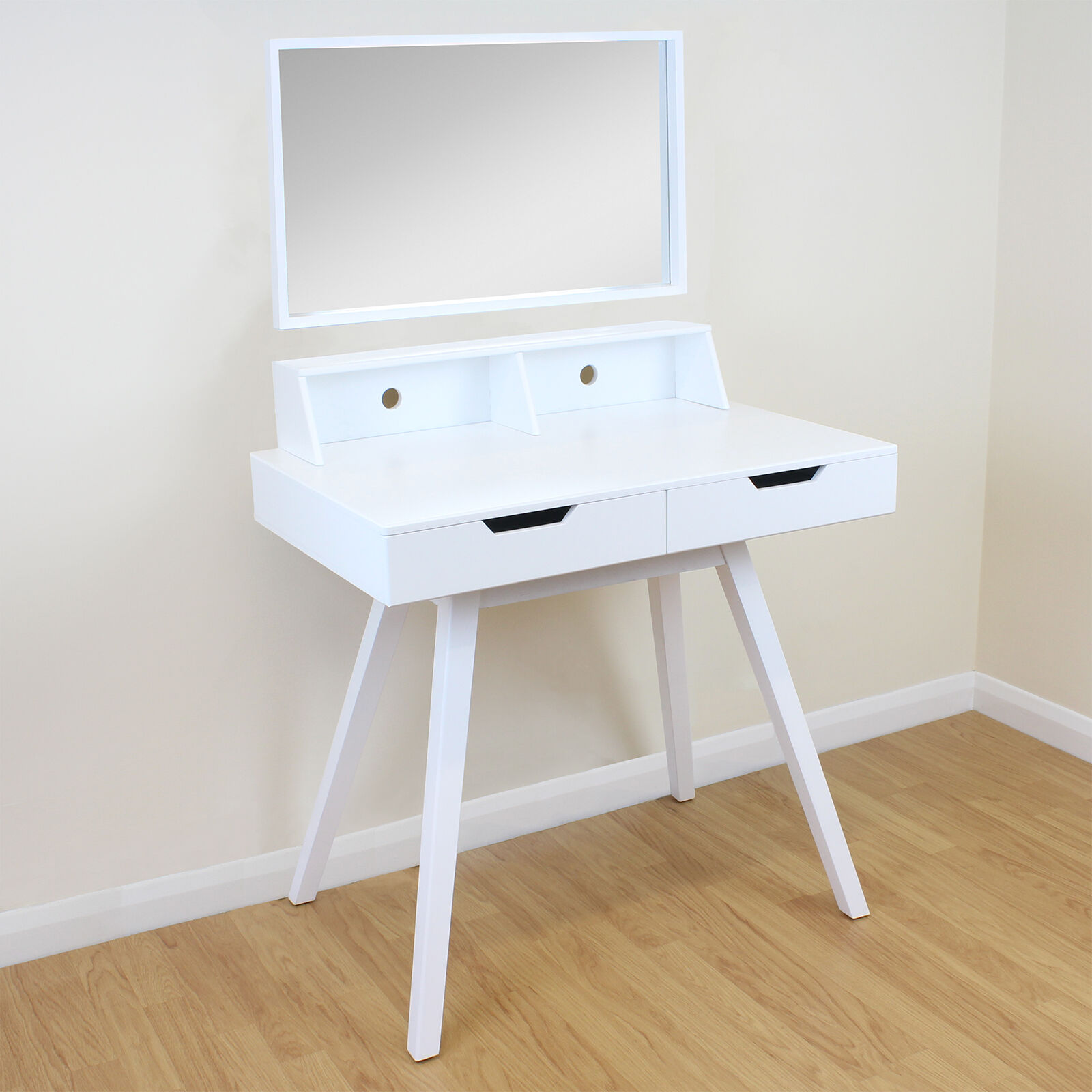 2 Drawer White Vanity Makeup Dressing Table Removable