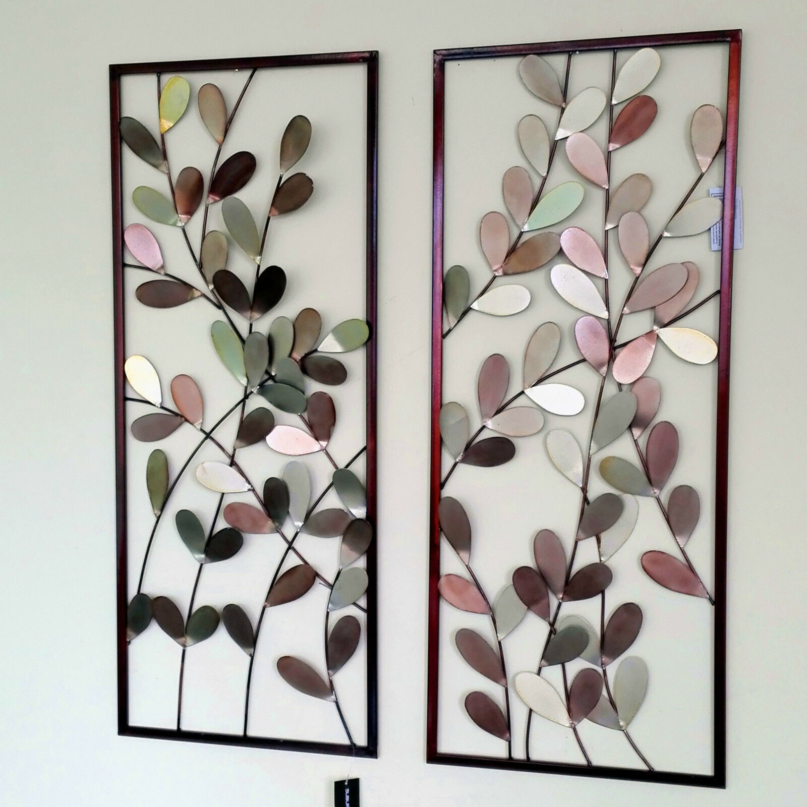 Large metal wall art framed wall sculpture home decor for Metal leaf wall art
