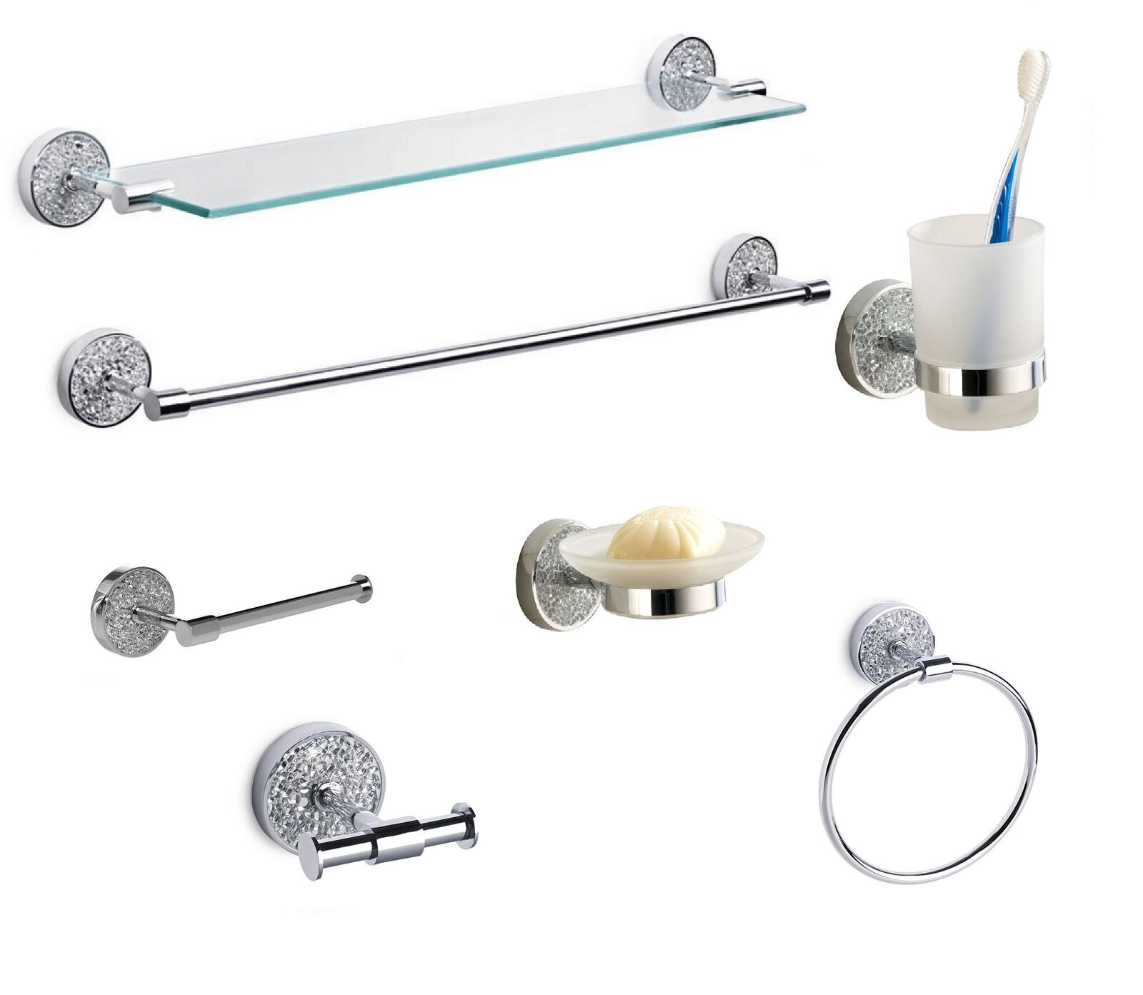 crackle glass bathroom accessories fittings silver sparkle