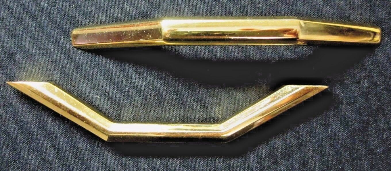 """1 vintage 60s retro polished shiny solid brass drawer pull handle 4-7/8 3-3/4""""CC"""