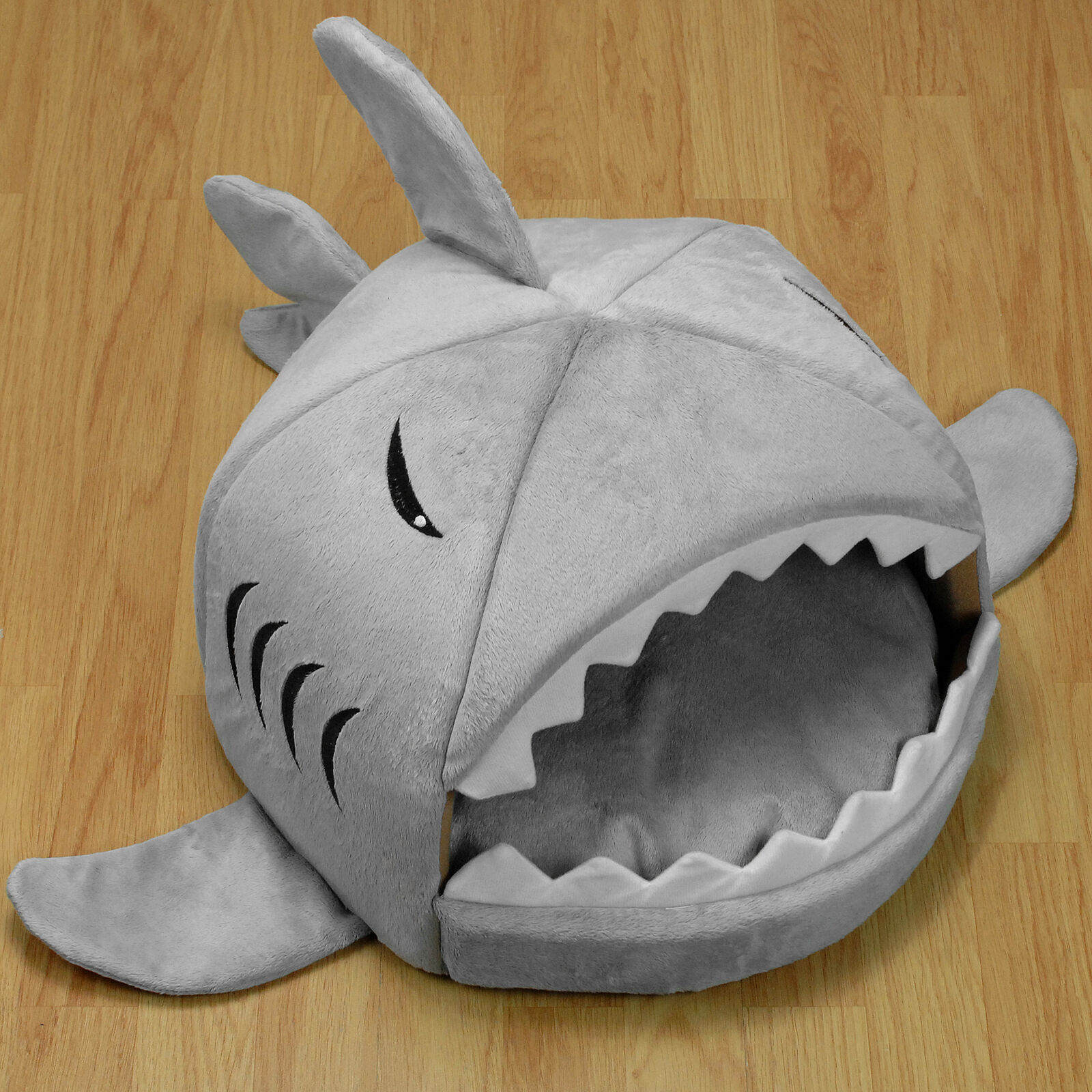 Cat/Kitten/Puppy/Dog Small Soft Grey Snug Warm Igloo Shark Mouth Bed/Cave/House