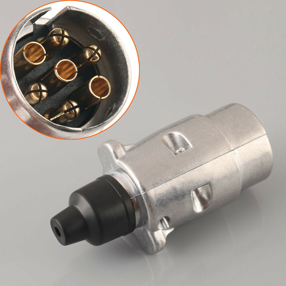 Trailer 7 Pin Plug Round Wiring Lights Tow Metal Caravan Truck Boat To 12v 12n 1 Of 5 See More