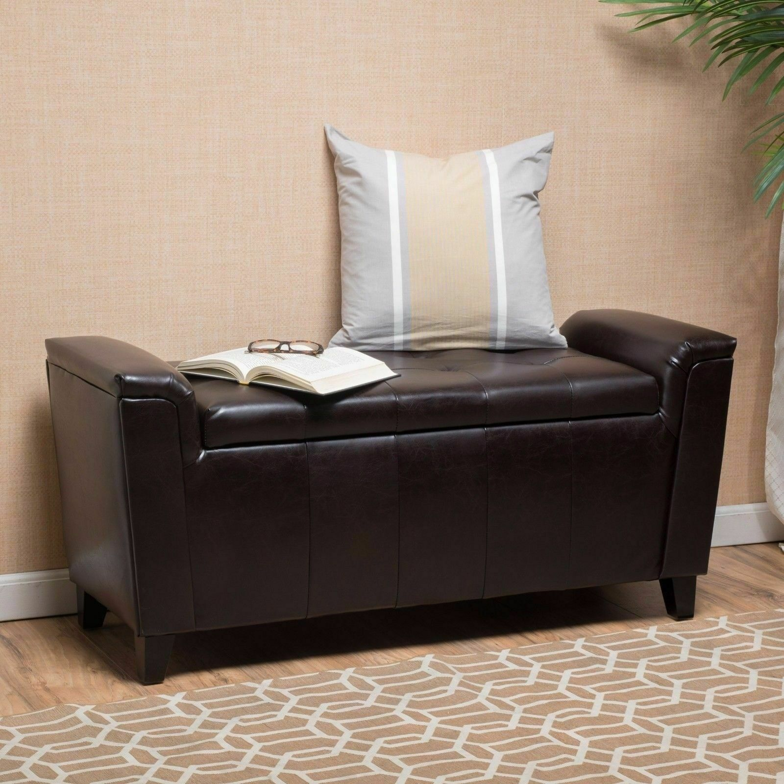 Contemporary Brown Tufted Leather Armed Storage Ottoman Bench 1 Of 4FREE  Shipping ...