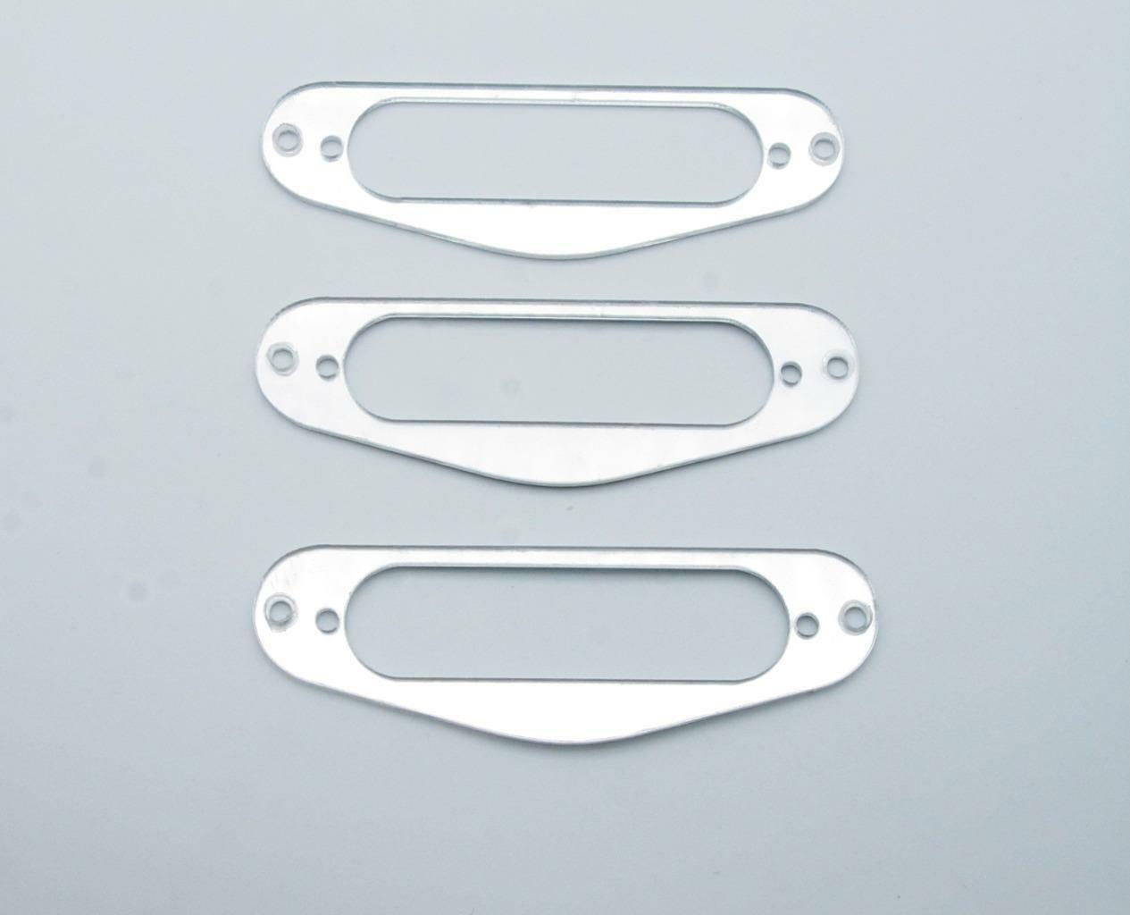3X SILVER MIRROR Guitar Single Coil Pickup Surround Ring for Strat ...