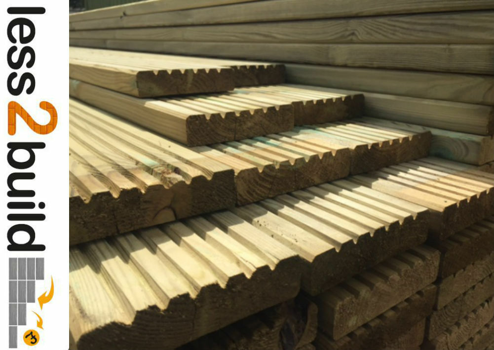 Treated timber decking boards 38x125mm 4 8m long timber for Longest decking boards